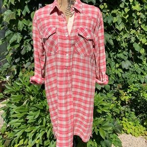 CURRENT/ELLIOTT Levee Western Plaid Dress, S